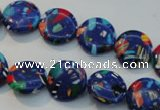CTU2080 15.5 inches 8mm flat round synthetic turquoise beads