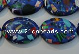 CTU2093 15.5 inches 18*25mm oval synthetic turquoise beads