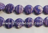 CTU2270 15.5 inches 8mm flat round synthetic turquoise beads