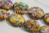 CTU2330 15.5 inches 12*16mm oval synthetic turquoise beads