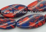 CTU237 16 inches 15*30mm twisted oval imitation turquoise beads