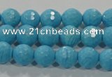 CTU2592 15.5 inches 8mm faceted round synthetic turquoise beads