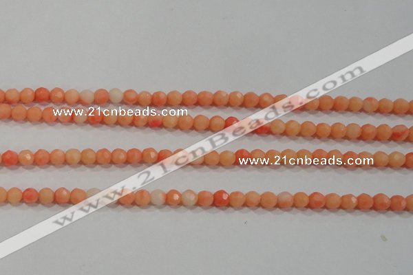 CTU2641 15.5 inches 4mm faceted round synthetic turquoise beads