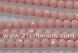 CTU2680 15.5 inches 3mm faceted round synthetic turquoise beads