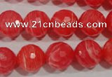 CTU2745 15.5 inches 14mm faceted round synthetic turquoise beads