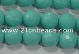 CTU2783 15.5 inches 10mm faceted round synthetic turquoise beads