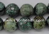 CTU556 15.5 inches 16mm faceted round African turquoise beads