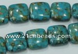 CTU632 15.5 inches 15*15mm square synthetic turquoise beads wholesale