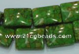 CTU634 15.5 inches 15*20mm rectangle synthetic turquoise beads