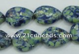 CTU656 15.5 inches 13*18mm flat teardrop synthetic turquoise beads