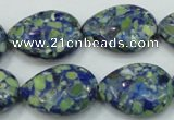 CTU657 15.5 inches 20*25mm flat teardrop synthetic turquoise beads