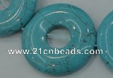 CTU666 15.5 inches 30mm donut synthetic turquoise beads wholesale