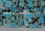 CTU690 15.5 inches 25*25mm square synthetic turquoise beads