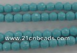 CTU911 15.5 inches 6mm faceted round synthetic turquoise beads