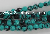 CTU931 15.5 inches 6mm faceted round synthetic turquoise beads