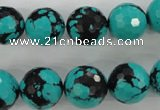 CTU935 15.5 inches 14mm faceted round synthetic turquoise beads
