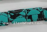 CTU954 15.5 inches 15*20mm rectangle synthetic turquoise beads