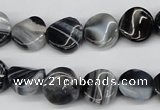 CTW09 15.5 inches 12mm twisted coin botswana agate beads wholesale