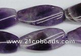 CTW102  15.5 inches 15*30mm twisted rectangle amethyst beads