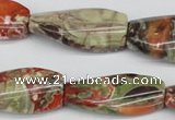 CTW119 15.5 inches 15*30mm twisted rectangle rainforest agate beads