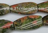 CTW120 15.5 inches 15*30mm twisted rectangle unakite gemstone beads