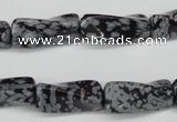 CTW122 15.5 inches 10*20mm twisted trihedron snowflake obsidian beads