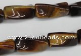 CTW140 15.5 inches 9*20mm twisted trihedron yellow tiger eye beads