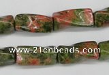 CTW142 15.5 inches 9*20mm twisted trihedron unakite gemstone beads