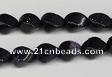 CTW146 15.5 inches 8*11mm twisted rice blue goldstone beads