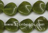 CTW17 15.5 inches 16mm twisted coin jade gemstone beads
