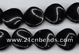 CTW20  15.5 inches 16mm twisted coin black agate beads wholesale