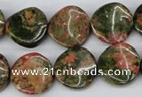 CTW26 15.5 inches 16mm twisted coin unakite gemstone beads wholesale