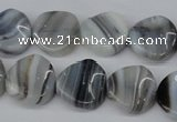CTW27 15.5 inches 16mm twisted coin botswana agate beads wholesale