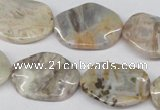 CTW303 15.5 inches 18*25mm wavy oval bamboo leaf agate beads