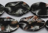 CTW304 15.5 inches 18*25mm wavy oval red & green dalmation jasper beads