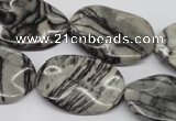CTW305 15.5 inches 20*30mm wavy oval black water jasper beads