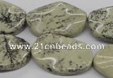 CTW306 15.5 inches 20*30mm wavy oval artistic jasper beads