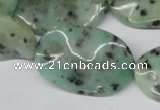 CTW309 15.5 inches 20*30mm wavy oval sesame jasper gemstone beads
