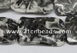 CTW323 15.5 inches 20*30mm wavy rectangle black & white jasper beads