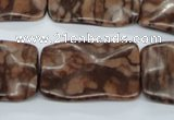 CTW324 15.5 inches 20*30mm wavy rectangle red line jasper beads