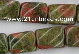 CTW374 15.5 inches 15*20mm twisted rectangle unakite gemstone beads