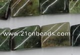 CTW378 15.5 inches 15*20mm twisted rectangle moss agate beads