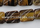 CTW380 15.5 inches 15*20mm twisted rectangle yellow tiger eye beads