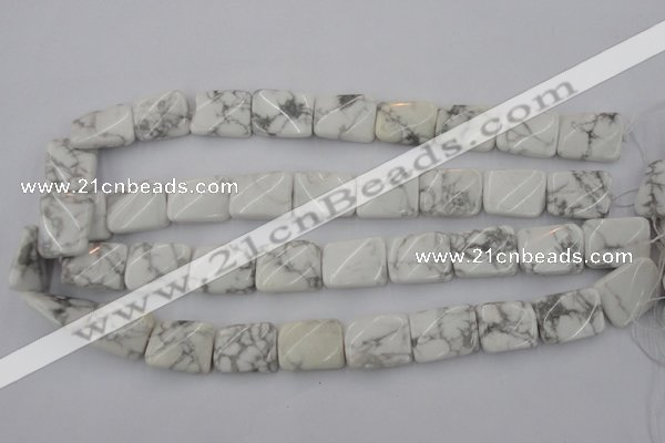 CTW383 15.5 inches 15*20mm twisted rectangle white howlite beads