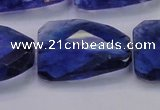 CTW504 15.5 inches 20*30mm faceted & twisted synthetic quartz beads