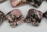 CTW51 15.5 inches 15*15mm twisted diamond rhodonite beads