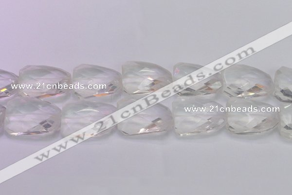CTW510 15.5 inches 30*40mm faceted & twisted synthetic quartz beads