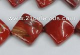 CTW52 15.5 inches 15*15mm twisted diamond red jasper beads