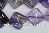 CTW56 15.5 inches 15*15mm twisted diamond amethyst gemstone beads