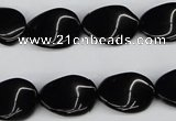 CTW66 15.5 inches 13*18mm twisted oval black agate beads